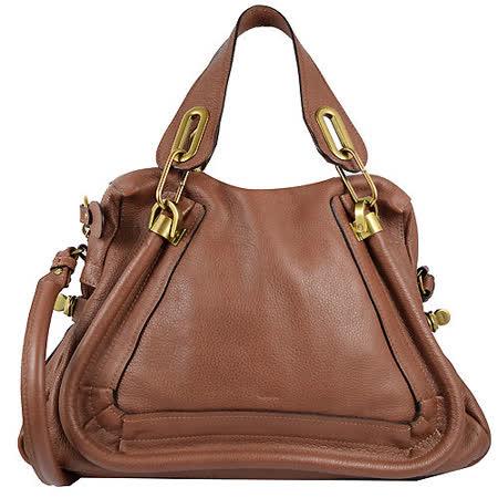 CHLOE Paraty系列 新款時尚皮革肩背手提兩用包.巧克力色