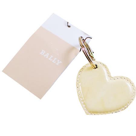 BALLY 愛心亮皮鑰匙圈(白)