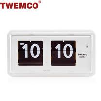 【TWEMCO】機械式 翻頁鐘 復古收藏 方形可壁掛及桌放 (QT-30 白色)