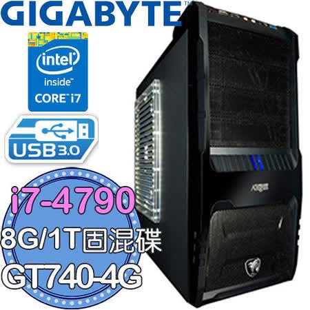 技嘉H97平台【天罰之刃】Intel第四代i7四核 GT740-4G獨顯 1TB固混碟 24X燒錄電腦