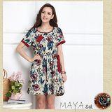 【Maya 名媛】 (M~XL) 自然棉麻料 熱帶大花印款 【咖紅色】收腰滾邊 連衣裙 洋裝