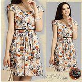 【Maya 名媛】(M~3XL) 自 然透氣棉麻料 高腰半包袖質感印花連衣裙 洋裝