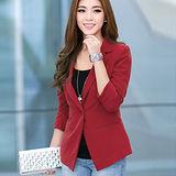 【公主衣櫃 中大尺碼】 5005潮流小西裝外套(紅色)