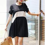 【Maya 名媛】 (S~2XL) 夏日自然棉麻 涼爽 黑白拼接短袖大裙擺連衣洋裝