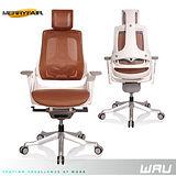 【Merryfair】WAU時尚運動款機能電腦椅(全網)-咖啡網白框