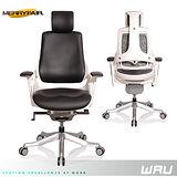 【Merryfair】WAU時尚運動款機能電腦椅(牛皮)-黑皮白框