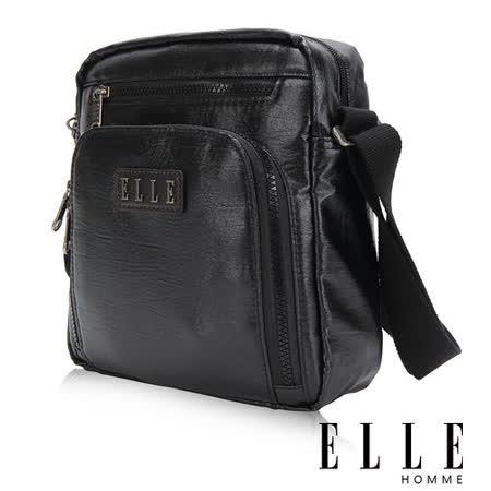 ELLE HOMME 時尚閃耀金蔥 IPAD/扣層 休閒側背包 頂級閃耀輕量化布料-黑EL83417-02
