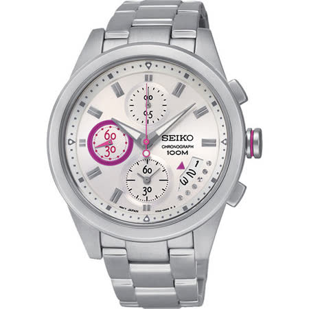 SEIKO Criteria 輕時尚三眼計時腕錶-銀 7T92-0RV0S