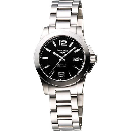 LONGINES 深海征服者300米潛水機械女錶-黑 L32764586