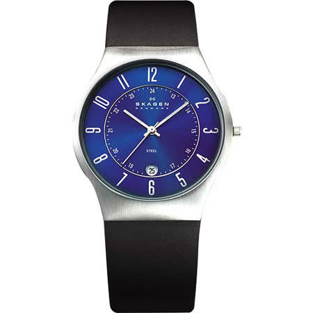 SKAGEN 都會 時尚石英腕錶-藍x黑色錶帶 233XXLSLN