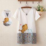 【Maya Collection森林系】貓咪與魚魚的親親涼爽棉麻寬鬆長版上衣