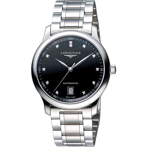 LONGINES Master 巨擘大三針真鑽機械腕錶-黑 L26284576