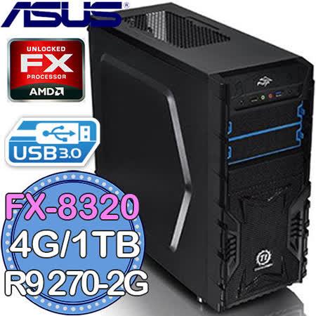 華碩970平台【焦灼之炎】AMD FX八核 R9 270-2G獨顯 1TB燒錄電腦