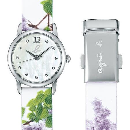 agnes b.法國時尚設計彩繪錶帶晶鑽腕錶(珍珠白/22mm) BK3001X1