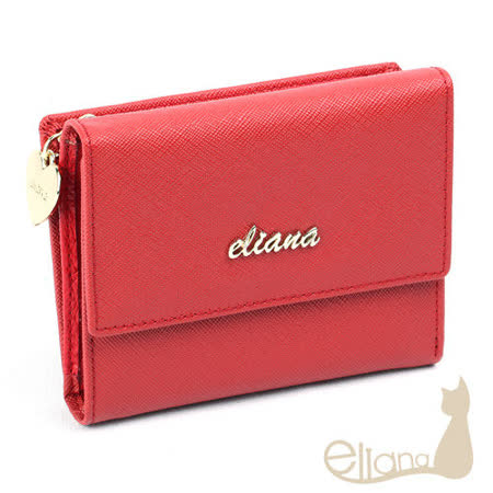 eliana - Amore系列15卡雙層短夾(甜莓紅)EN122W08RD