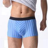 【BVD】NEW YORK Meryl系列 服貼舒適條紋四角褲(水藍色)