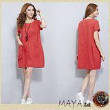 【Maya 名媛】 (中大碼)  薄棉麻大口背袋造型連衣裙 洋裝 連衣裙-正紅色