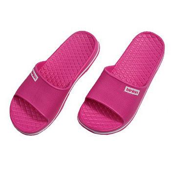 晶亮菱格紋室外拖鞋(桃紅)