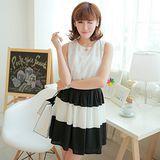 韓版限定【Sweet Dress】黑白拼接蕾絲無袖洋裝