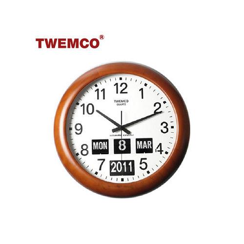 ~TWEMCO~復古收藏 圓型翻頁鐘BQ~368 英文日期 原木 壁掛式