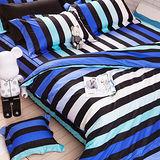 OLIVIA 《LOFT工業風 FANTASY 藍》加大雙人床包鋪棉冬夏兩用被套組(歐枕)