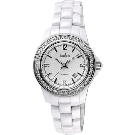 【私心大推】gohappy快樂購物網Diadem 黛亞登 菱格紋晶鑽陶瓷腕錶-銀x白 8D1407-551SD-W好嗎台南 大 遠 百