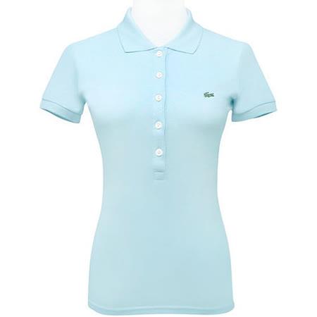 LACOSTE 藍綠色鱷魚標誌短袖POLO衫【USA 2號】