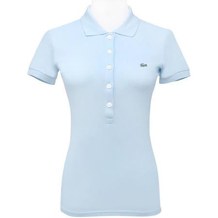 LACOSTE 水藍色鱷魚標誌短袖POLO衫【USA 2號】