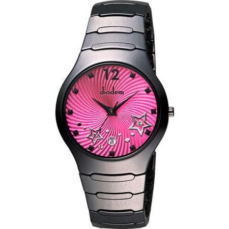 Diadem 黛亞登 浪漫星空陶瓷腕錶-桃紅x黑 9D1407-541DD-R