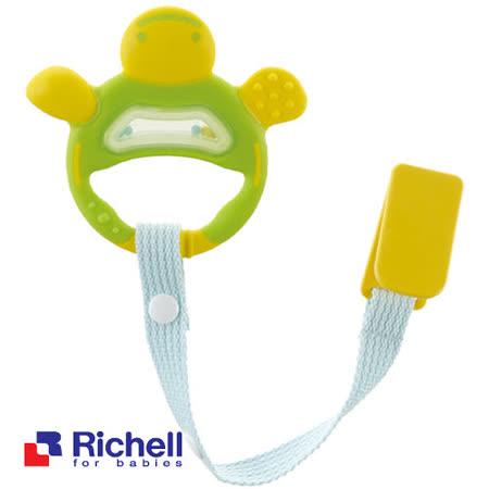 Richell日本利其爾 固齒器-翠綠色手指形狀(附固定夾)