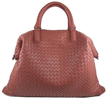 BOTTEGA VENETA 純手工小羊皮編織造型兩用包.粉橘(大)