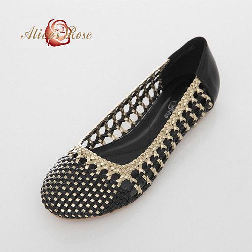 Alice s Rose 亮面金邊編織平底鞋~黑色