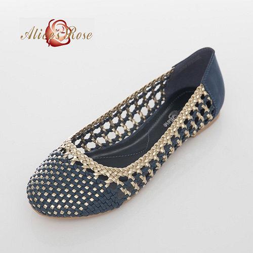 Alice s Rose 亮面金邊編織平底鞋~藍色
