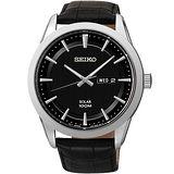 SEIKO 雅痞風格太陽能時尚腕錶-黑 V158-0AS0J