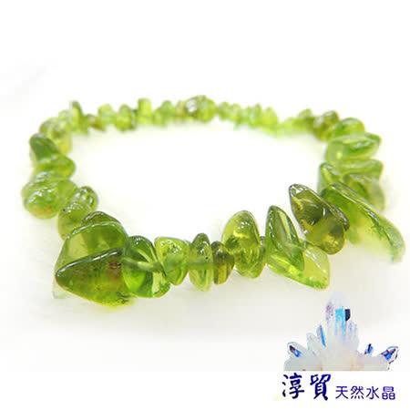 淳貿天然水晶 橄欖石滾石手鍊 (B01-26)