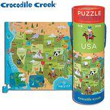 【美國Crocodile Creek】2合1海報拼圖系列-美國地圖