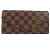 Louis Vuitton LV N63543 JOSEPHINE 棋盤格紋三折活動零錢長夾.紅_現貨