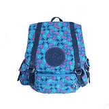 【Kipling】比利時品牌 限量花色款 探險活寶 大旅者束口後背包 藍色派對 K-374-5057-041
