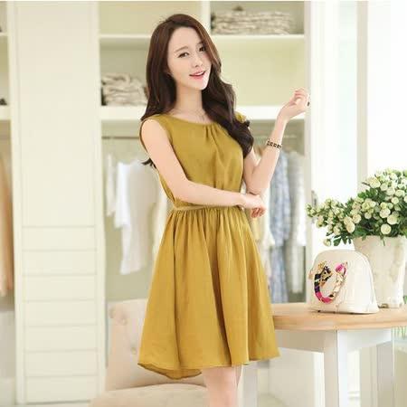 【Maya 名媛】黃綠色(s~xl) 透氣棉麻料 細腰帶摺裙背心連身洋裝