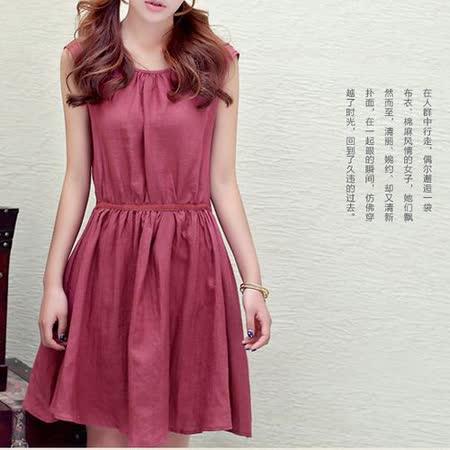 【Maya 名媛】酒紅色(s~xl) 透氣棉麻料 細腰帶摺裙背心連身洋裝