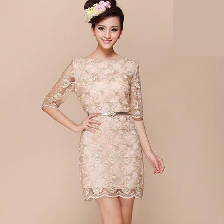 《韓國K.W.》甜美尤物.雕花蕾絲洋裝