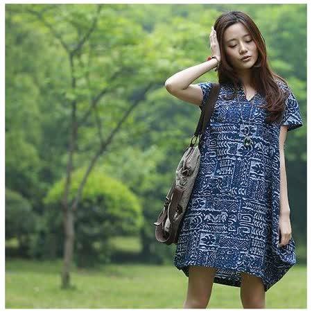 【Maya 名媛】(S~2XL) 藏青古文字款  自然風格棉麻系列 半包袖立體圓型連衣裙
