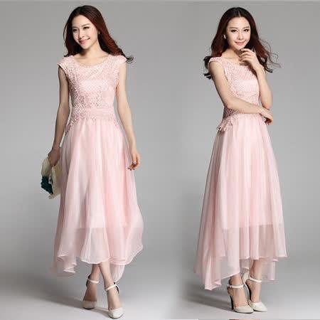《韓國K.W.》亮麗女人.雪紡蕾絲洋裝