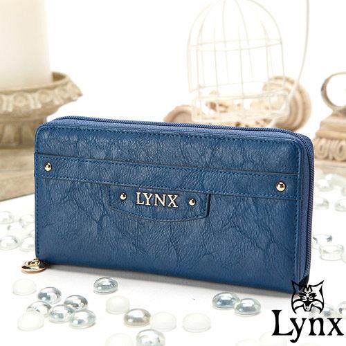 Lynx ~ 山貓都會風漾彩 單拉鍊長夾~英倫藍
