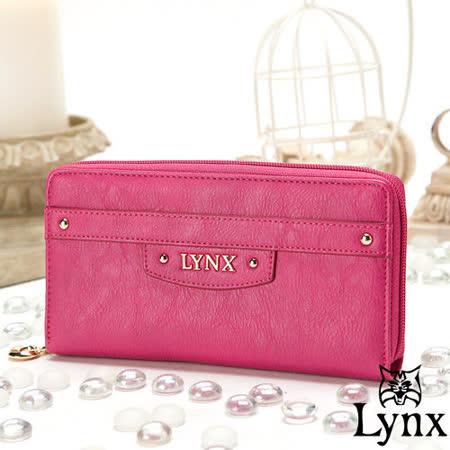 Lynx - 山貓都會風漾彩經典質感單拉鍊長夾-甜美桃