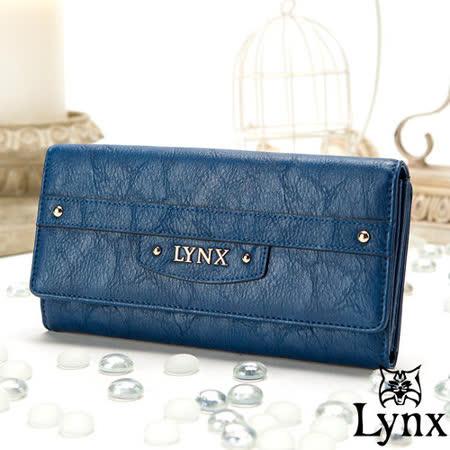 Lynx - 山貓都會風漾彩經典質感三折零錢式長夾-英倫藍