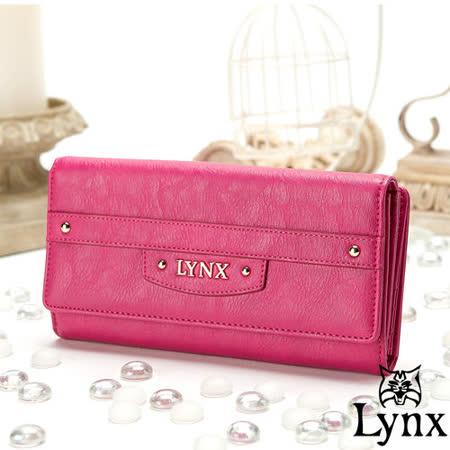 Lynx - 山貓都會風漾彩經典質感三折零錢式長夾-甜美桃