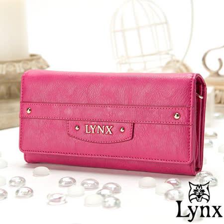 Lynx - 山貓都會風漾彩經典質感兩折式多收納長夾-甜美桃