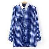 韓版限定【Sweet Dress】單口袋藍白格子長袖襯衫