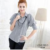 艾之田LOVE FIELD-簡約風條紋連身公主袖窄版襯衫